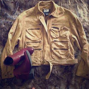 DKNY Military style suede multi-pocket jacket